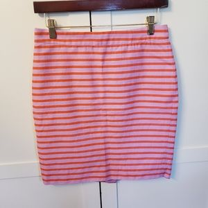 J.Crew Pencil Skirt 2 Petite 2P Striped Pink orang